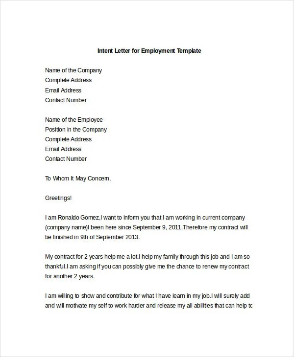 letter or intent - Solidgraphikworks - Letter Of Intent Employment Sample