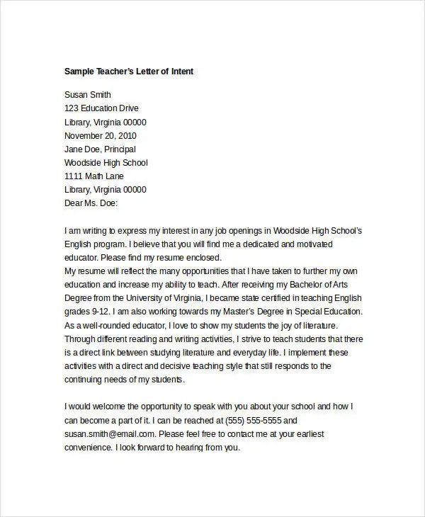 intent letter sample for school - Pinarkubkireklamowe
