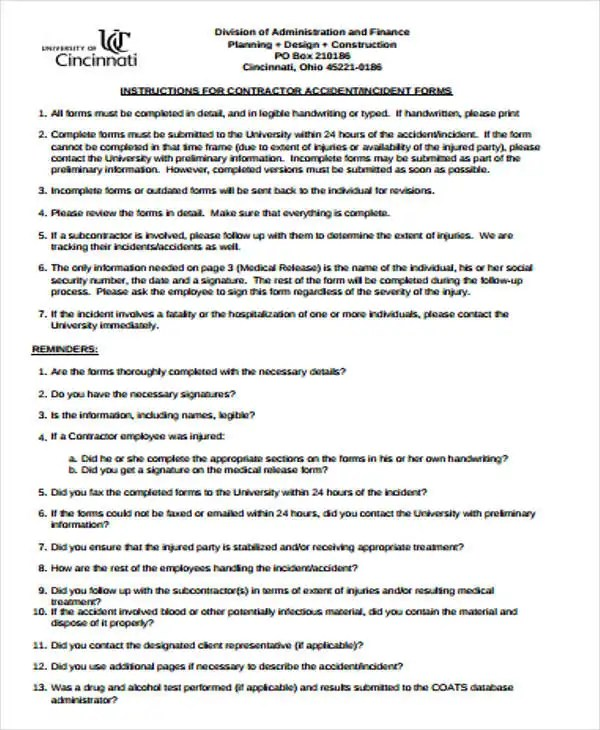 Construction Incident Report Template - 15+ Free Word, PDF Format