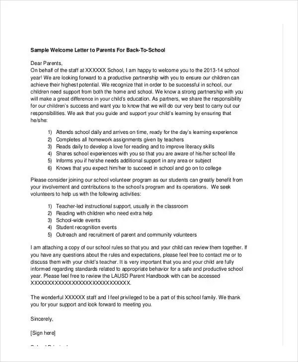 School Letter Templates - 8+ Free Sample, Example Format Download