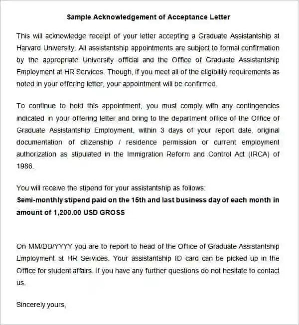 38+ Acknowledgement Letter Templates - PDF, DOC Free  Premium