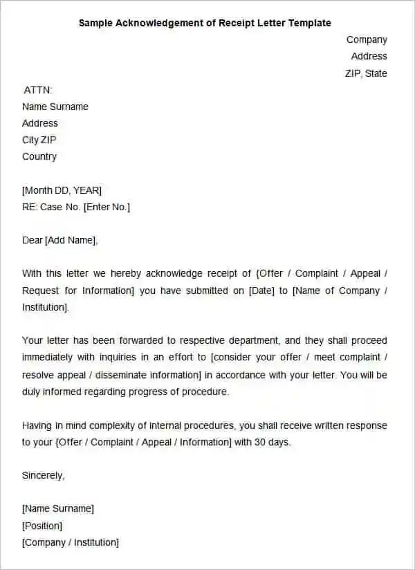 letter acknowledging receipt
