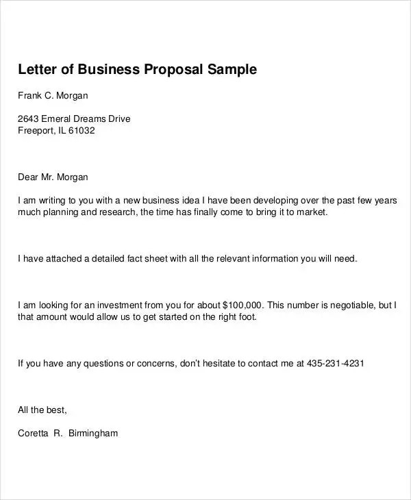 free sample business proposals 89 Free sample business proposals - format of business proposal letter