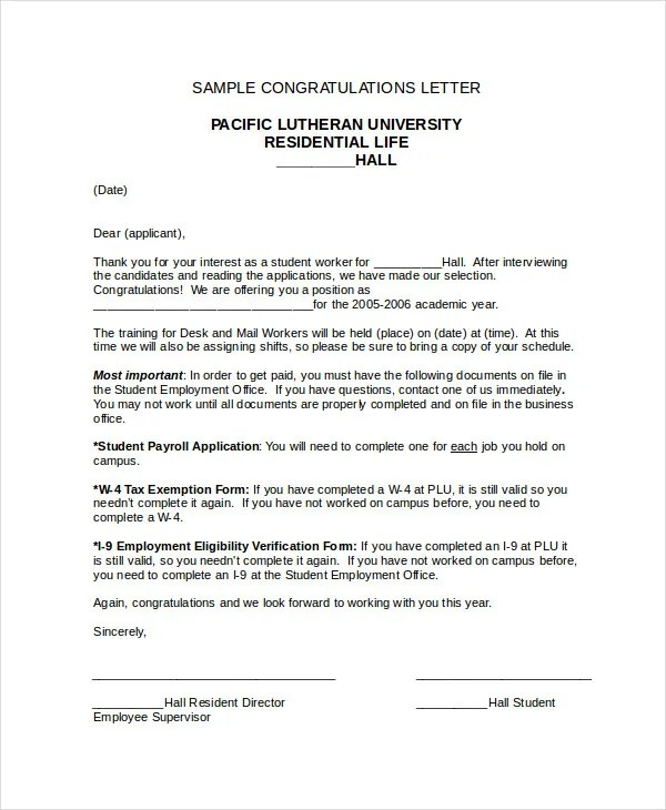 Congratulation Letter Template - 9+ Free Sample, Example Format