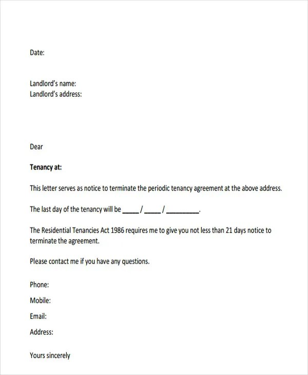 Tenant Letter Templates - 9+ Free Sample, Example Format Download