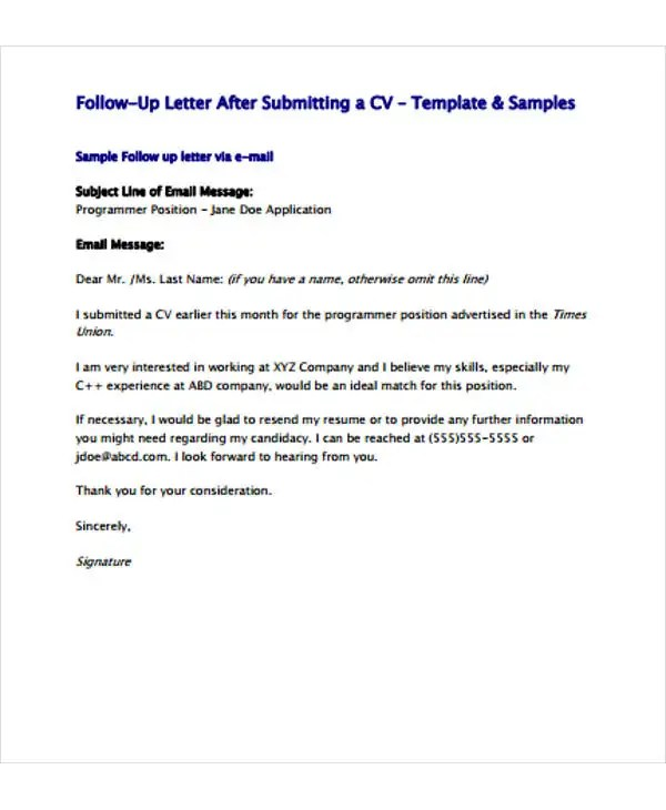 Follow Up Letter Template - 9+ Free Sample, Example Format Download - resume follow up email samples