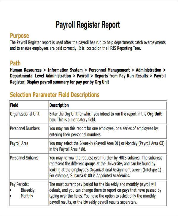 Employee Payroll Templates Free  Premium Templates - payroll report template
