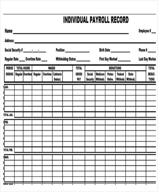 payroll records templates - Yelommyphonecompany
