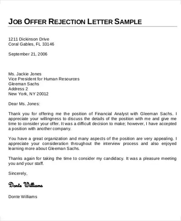 Sample Applicant Rejection Letter Job Application Rejection Letter