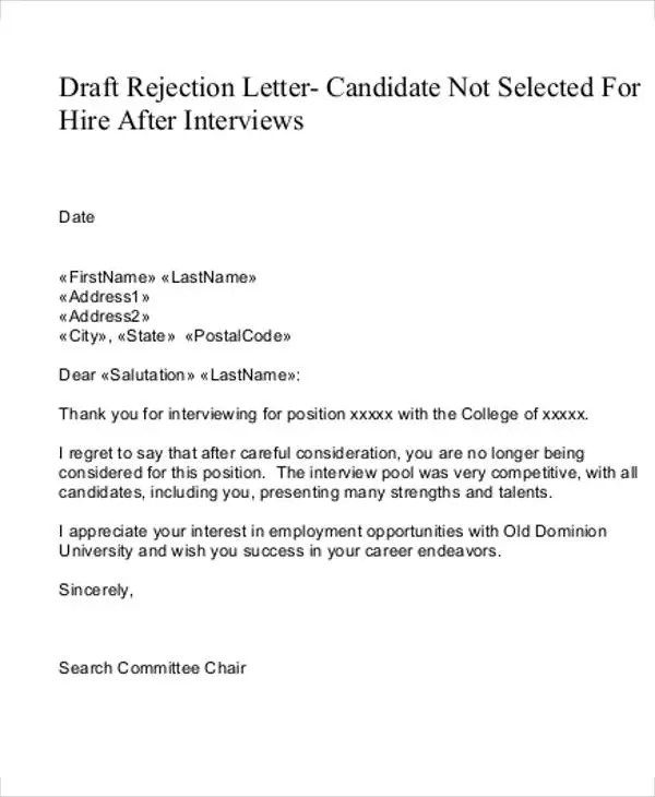 Why Employment Rejection Letters Matter - rejection letter sample