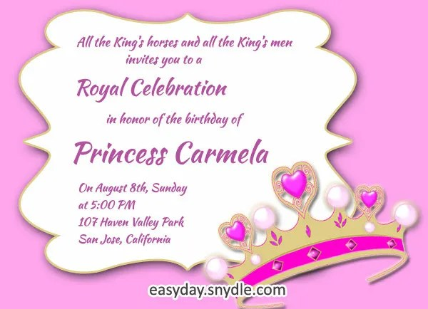 9+ Princess Party Invitations -Free Sample, Example, Format Download