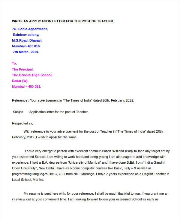 sample covering letter for a job