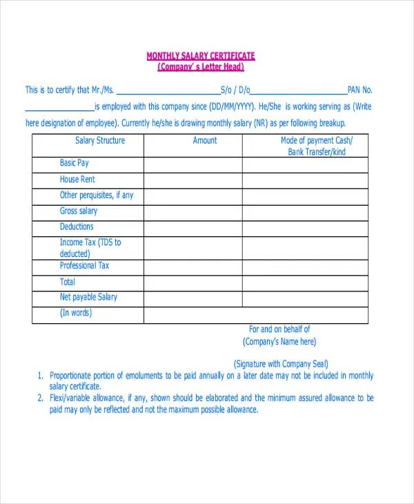 ... Certificate Letter Template   11+ Free Sample, Example Format   Format  Of Salary Certificate ...