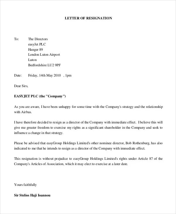 Simple Resignation Letters Cover Letter Format For Resignation - immediate resignation letter