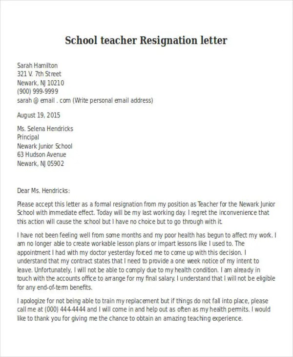 Resignation Letter Format Doc Due To Health Problem - Letter Idea 2018 - formal resignation letter