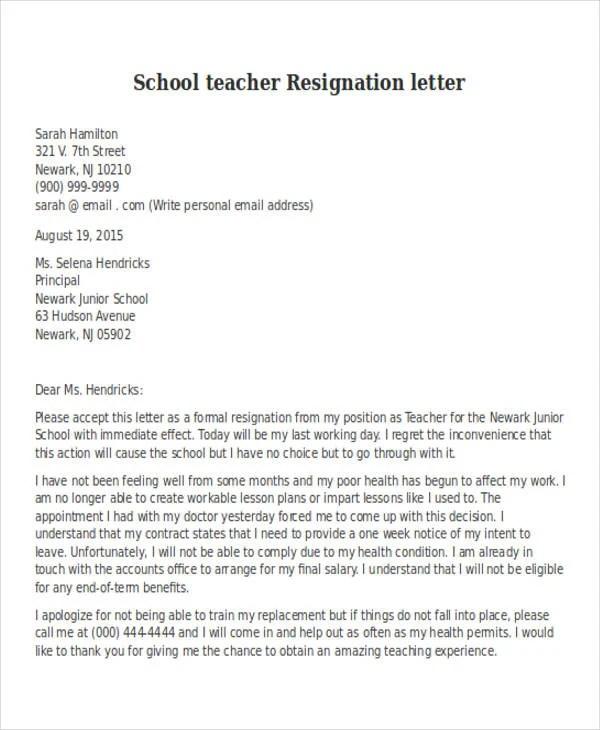 31+ Resignation Letter Format - PDF, DOC, iPage Free  Premium - teaching resignation letter