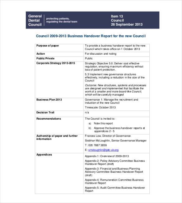 handover notes template download - Towerssconstruction
