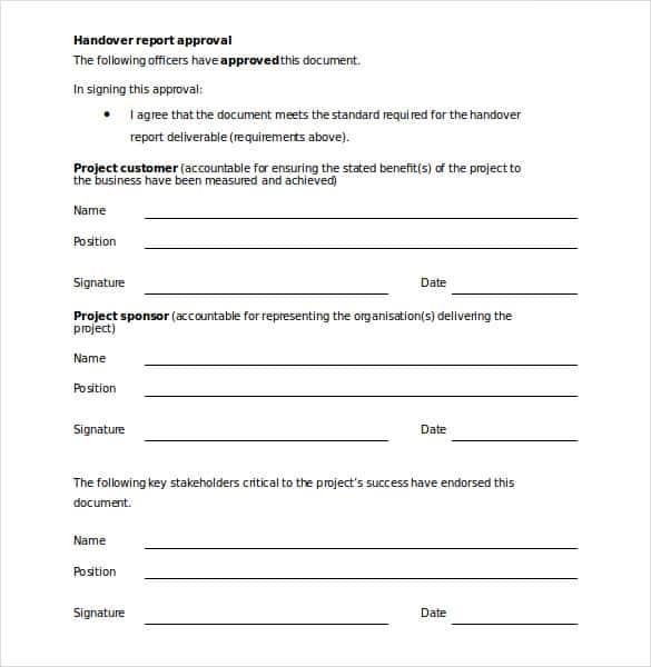 31+ Handover Report Templates - PDF, DOC Free  Premium Templates