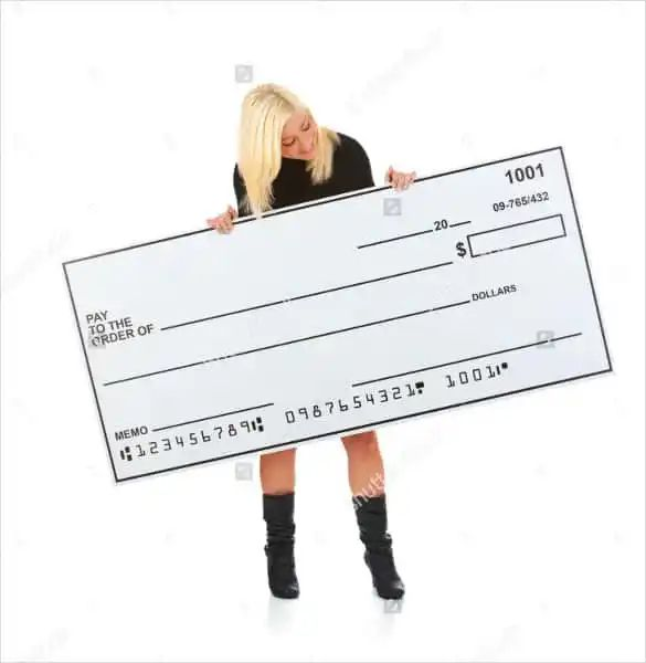 large blank cheque template