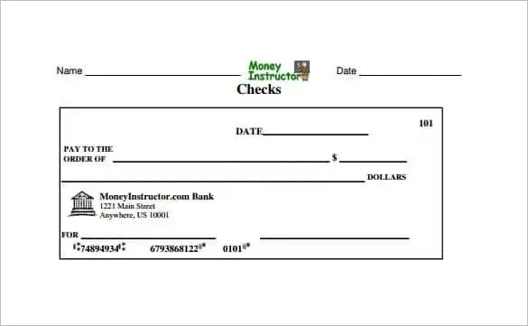 Blank Check Template \u2013 28+ Free Word, PSD, PDF  Vector Formats