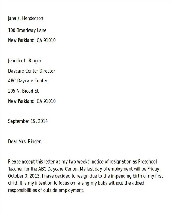 Sample Of Resignation Letter Printable Sample Letter Of - sample resignation letters