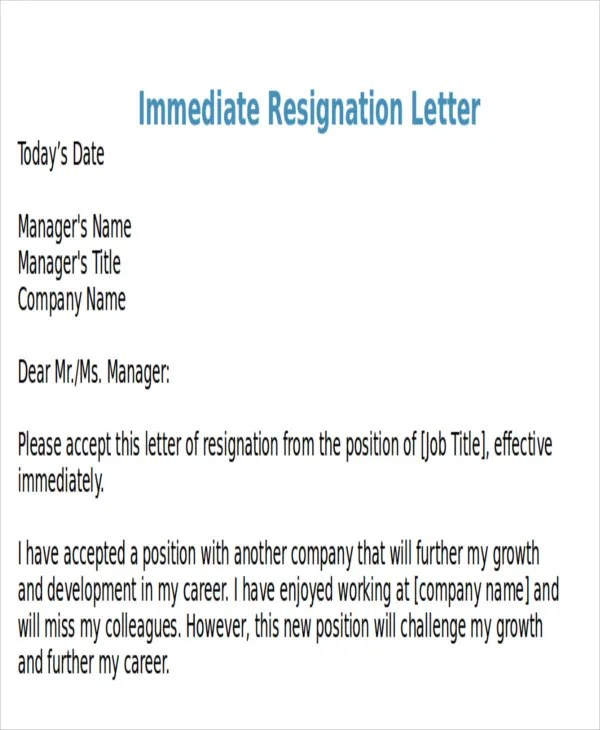 Sample Resignation Letter Immediate | System Analyst Job