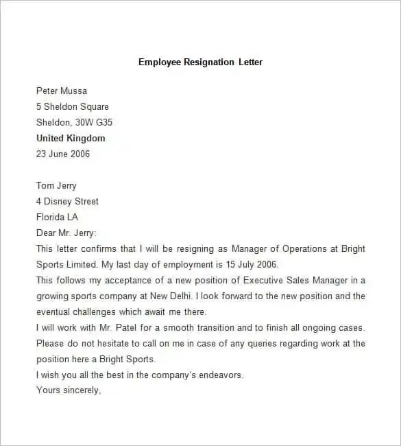 Resignation Letter Template - 28+ Free Word, PDF Documents - employment resignation letter