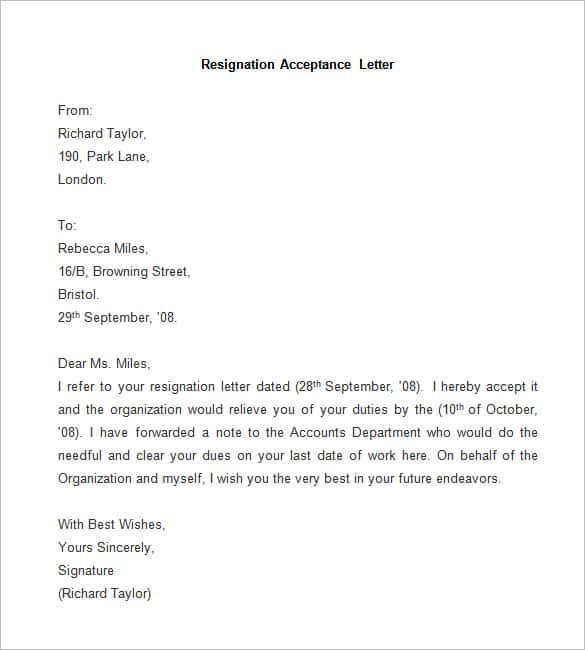 Sample Resignation Letter Printable Sample Letter Of Resignation