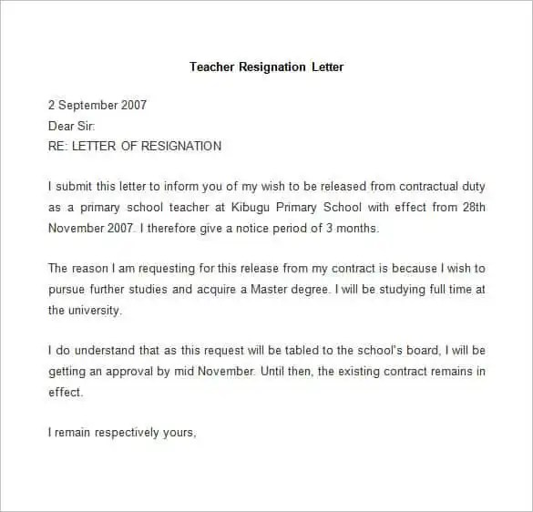 69+ Resignation Letter Template - Word, PDF, IPages Free  Premium - letter of release template
