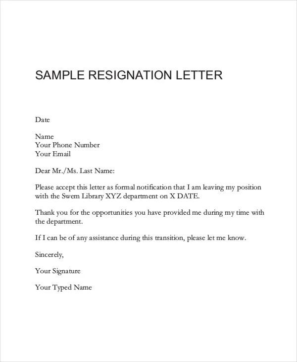26+ Simple Resignation Letters Free  Premium Templates