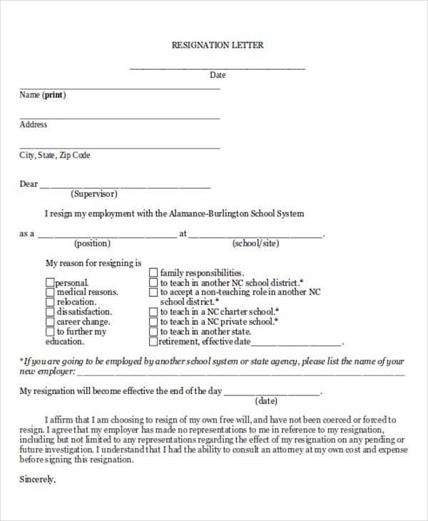 Fill In The Blank Resignation Letter Images - Letter Format Formal