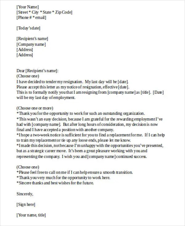 30+ Resignation Letter Templates in Doc Free \ Premium Templates - free letter of resignation template