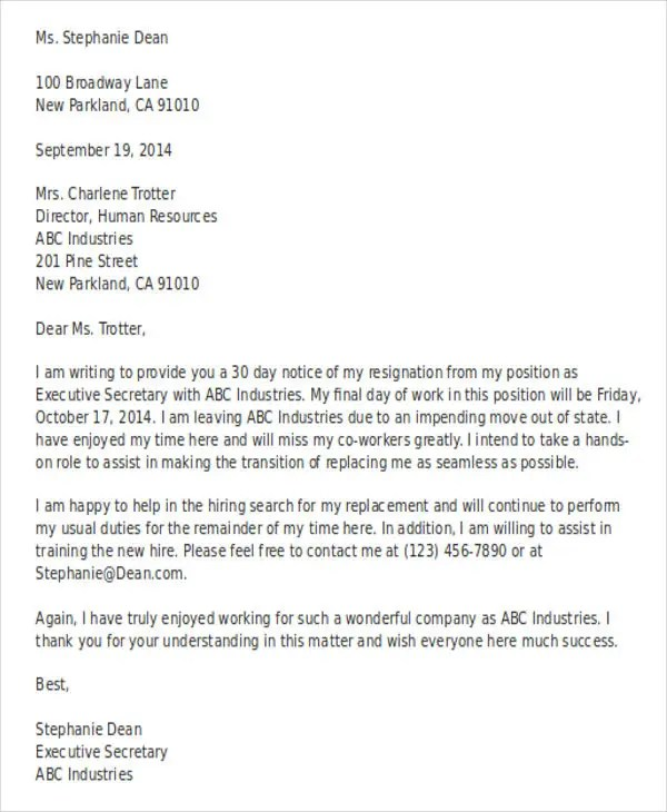 42+ Resignation Letter Template in Doc Free  Premium Templates - letter in doc