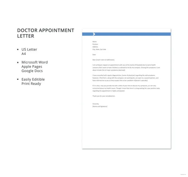 Doctor Appointment Letter Template - 7+ Free Word, PDF Format - requisition letter format