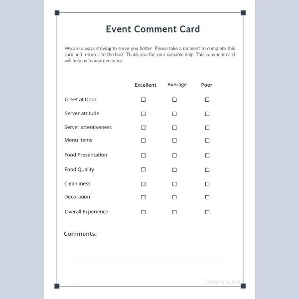 7+ Event Comment Cards - PSD, EPS Vector, AI, Publisher, Apple Pages