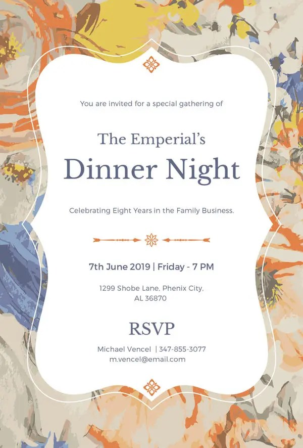 14+ Formal Dinner Invitation - Free Sample, Example, Format Download