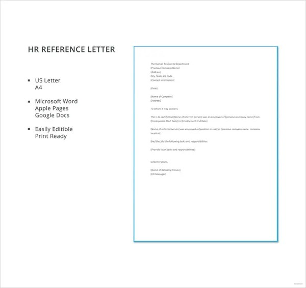 6+ HR Reference Letter Templates - 6+ Free Word, PDF Format Download
