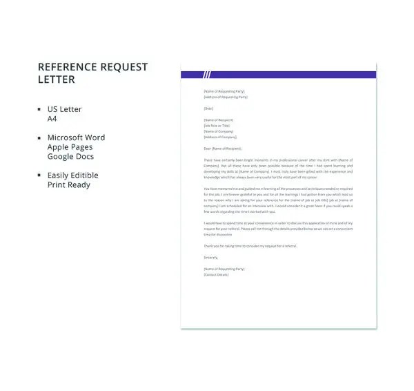 Reference Request Letter Free Reference Request Letter Template