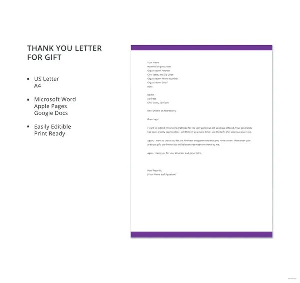 Gift Letter Templates -8+ Free Word, PDF Format Download Free - gift letter