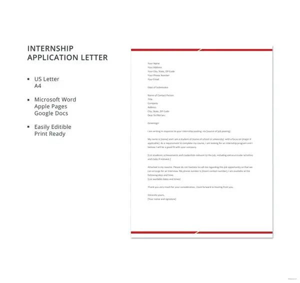 6+ Internship Job Application Letters- Free Word, PDF Format