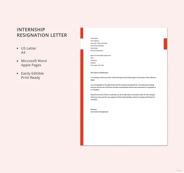 Internship Resignation Letter Template - 8+ Free Word, PDF Format - when to quit your internship