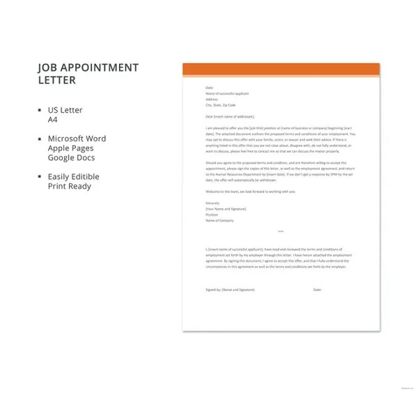 16+ Simple Appointment Letters - PDF, DOC Free  Premium Templates