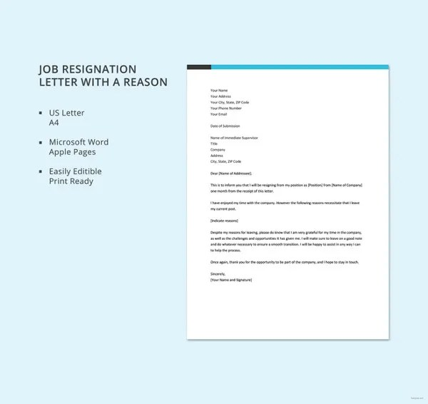 Resignation Letter with Reason Template - 10+ Free Word, PDF Format - resignation letter with reason