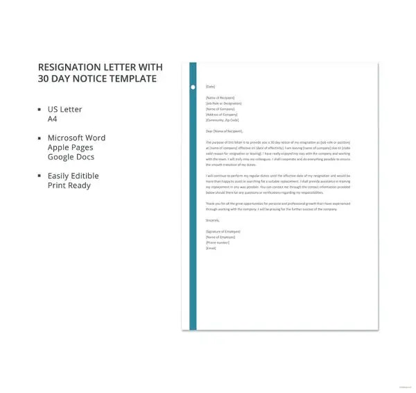 8+ Resignation Letter With 30 Day Notice Template - PDF, DOC Free - 30 day notice letter