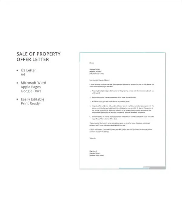 Property Offer Letter Templates - 10+ Free Word, PDF Format Download