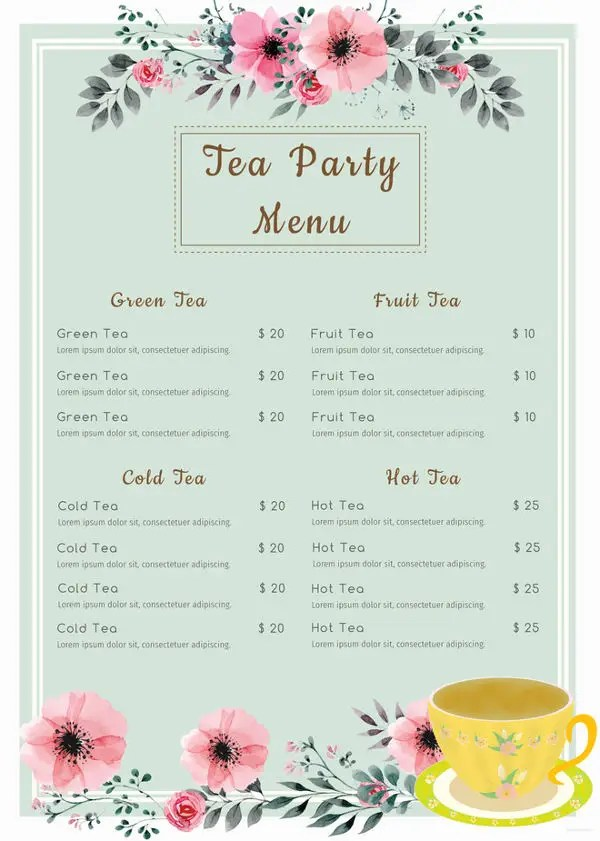 25+ Party Menu Designs Free  Premium Templates