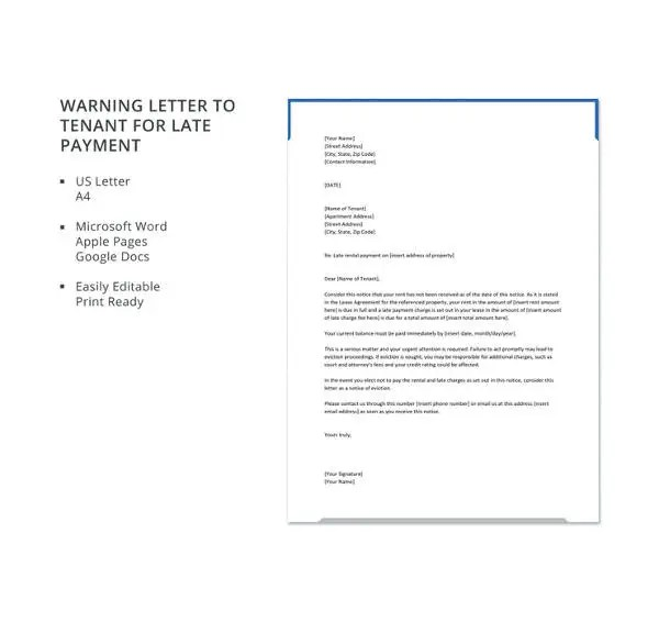 Tenant Warning Letter Template - 8 +Free Word, PDF Format Download