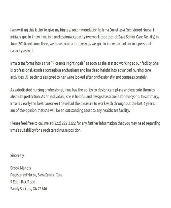 32+ Sample Recommendation Letter Templates Free  Premium Templates - nursing letter of recommendation