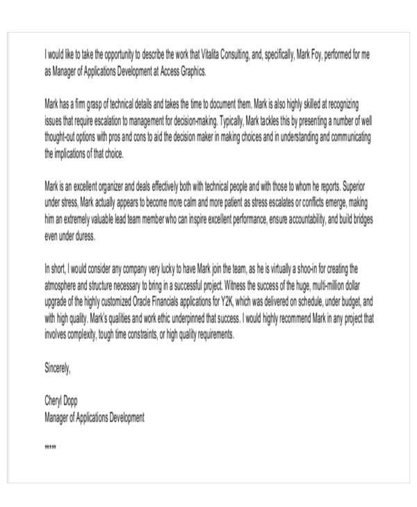 recommendation letter for business partner