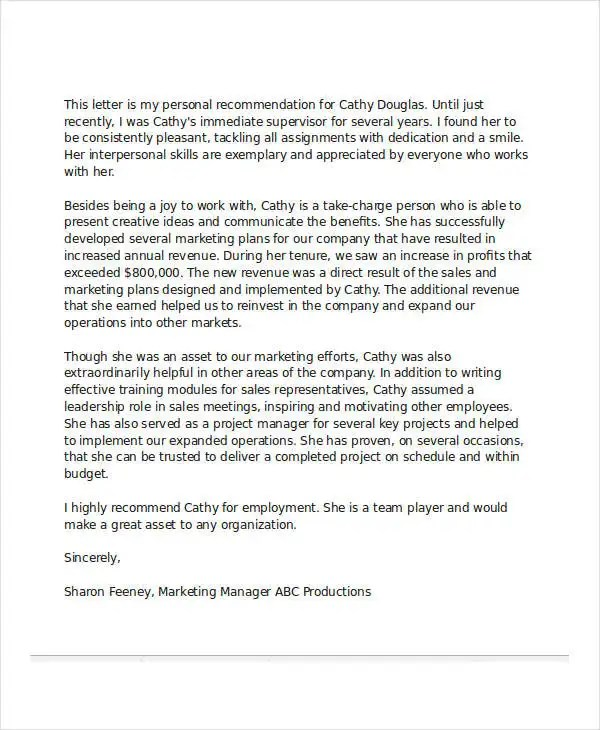 Free Sample Reference Letter For Employment work letter work - example recommendation letter for employee